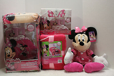 6 pc - Disney MINNIE MOUSE Reversible COMFORTER + SHEETS + BLANKET + DOLL - TWIN