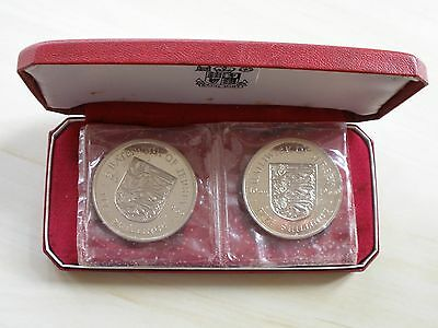1966 Jersey Proof Crown Set - Two Coins - Cased - Uk Post Free