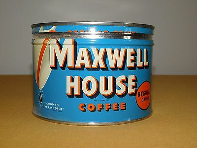 "Vintage Old Kitchen  3 1/2"" High Maxwell House 1 Pound Lb Coffee Tin **empty**"