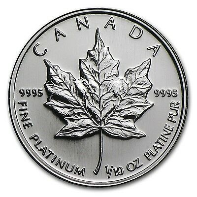 1/10oz Platinum Maple Canadian Coin - 9995 Fine, Random Year, BU, Sealed