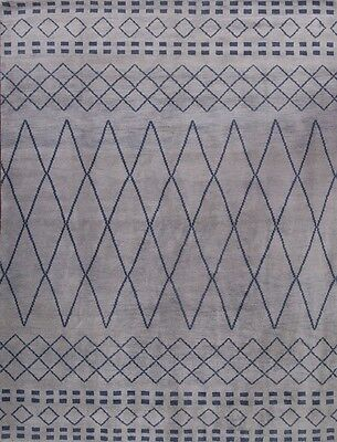 New Silver Grey Hand Knotted Modern 9x12 Moroccan Oriental Area Rug Wool Carpet