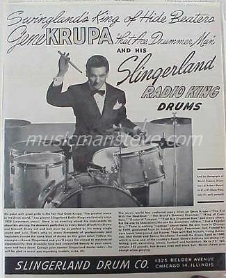 "SLINGERLAND ""Radio Kings"" DRUM AD 1947 - GENE KRUPA ""King Of Hide Beaters"".."