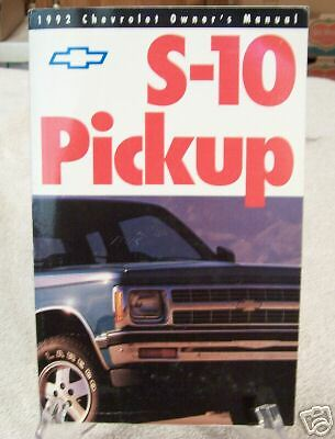 **NICE** 1992 Chevrolet S-10 Truck Owners Manual 92