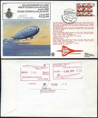 FF4c 60th Ann 1st Airship & Double Crossing of the Atlantic Signed Evenden