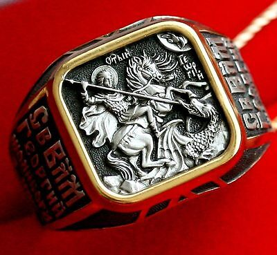 Mens St. George Russian Orthodox Icon Ring, Silver 925+Gold 999 Gild. Sale !!!!