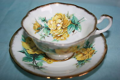 Lovely Vintage Paragon bone china tea cup saucer - Yellow Roses, signed Rimosa