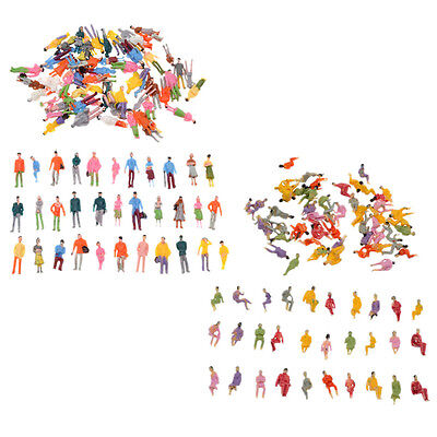 Scale 1:100 Painted Mini People Figures Stand Seated Train Passenger Mold 100pcs