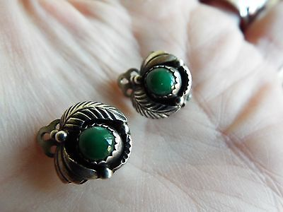Vintage Native American Navajo Sterling silver malachite earrings signed GY