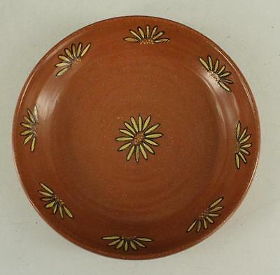 Vintage Art Pottery Hand Made Wheel Thrown Brick Red SUNFLOWER Fruit Bowl 9.5""