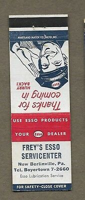 Frey`s Esso Service Center New Berlinville Pa Matchcover A373