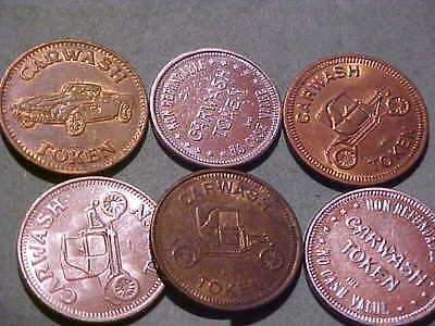 Lot Of Six Different Car Wash Tokens # S-3