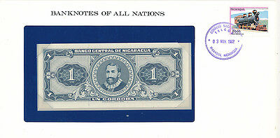 Franklin Mint Banknotes of all Nations Nicaragua 1 Cordoba P-115