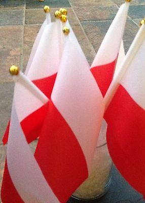 "POLAND Pack Of 5 SMALL HAND WAVING FLAG 8"" By 5"" WITH 12"" POLE POLISH"