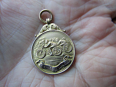 9ct GOLD 1923 LEWES & Dist. MOTORCYLE Club  FOB / Prize Medal  RELIABILITY TRIAL