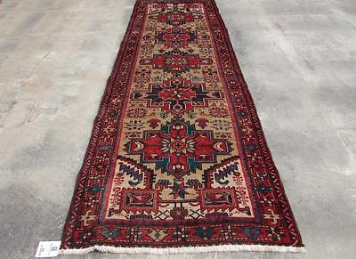 3'3X10'3 hand knotted tribal Persian Rug Vintage Woolen  Oriental Carpet  58
