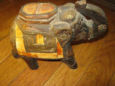 Antique Vintage Indian Hand Carved Wood Bone Inlay Brass Metal Elephant