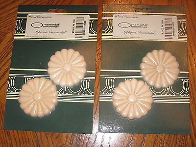 New Wood Ornamental Moulding 2 Sets Of 2 Total 4 Daisy Flower Appliques 2 1/2""