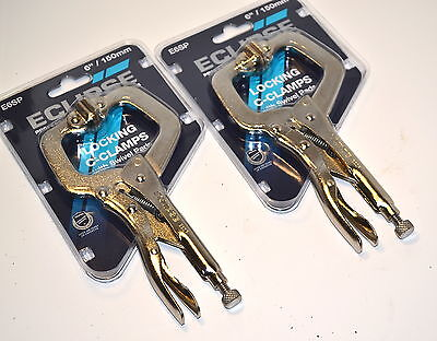 "2 NOS ECLIPSE UK E6SP Vise Grip Locking C-Clamp c/w Swivel Pads 6"" 150mm Pliers"