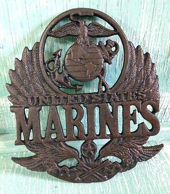 United States Marine Plaque Trivet Wall Decor Cast Iron Veteran New 8 3/8 Inches