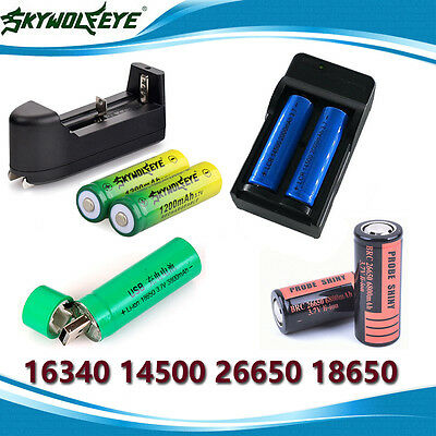 16340 14500 26650 18650 Rechargeable Li-ion Battery + Charger for LED Flashlight