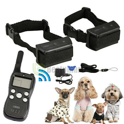 4 Modes Waterproof 1000 Yard 2 Dog Shock Training Collar Pet Trainer +LCD Remote
