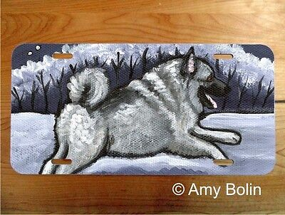 Norwegian Elkhound aluminum LICENSE PLATE Amy Bolin Winter Wonder PERSONALIZE IT