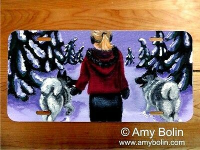 Norwegian Elkhound aluminum LICENSE PLATE Amy Bolin A SNOWY WALK elkie