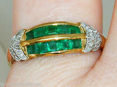9ct Gold 9K emerald and diamond Art Deco Design ring size S Boxed Hallmarked