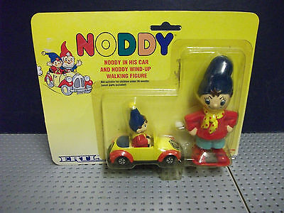New Sealed On Card Ertl Noddy & Car & Wind Up Figure From 1990