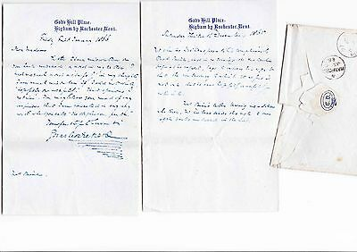 CHARLES DICKENS, 2 Letters 1 Signed with Envelope dated 1866, 1 Unsigned 1865