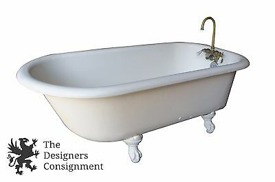 Antique Early 20th Cent Cast Iron Claw Foot Bath Tub 4 Footer Porcelain Faucet
