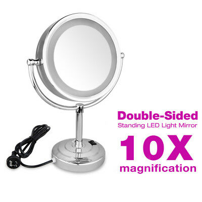 New Double Side Make Up Shaving Mirror On Stand Bathroom With Led Light Au Stock
