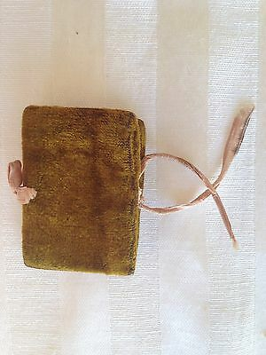 Antique Victorian Sewing Needle Case Pin Holder Velvet Book Form Miniature