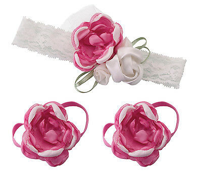 Baby Headband & Barefoot Sandals Choose from Hot Pink, Pink, or Ivory Baby Gift