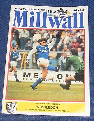 Millwall Home Programmes 1985-1986