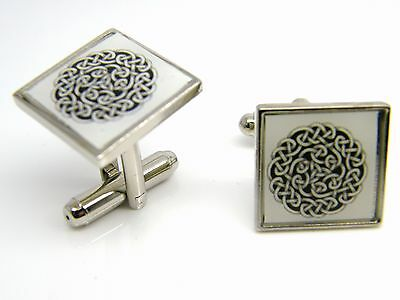 Celtic Knot Design Cufflinks Mens Gents Badge In Gift Pouch