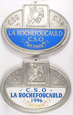 French horse show jumping prize metal plaque plate La Rochefoucauld l'Oxer Agris