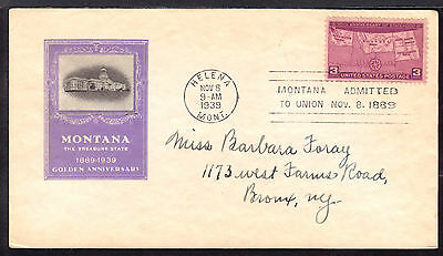 1939 HELENA, MONT., #858 3c on MONTANA 50th FIRST DAY CACHET