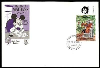 Maldives Mark Twain quotes first-day cover Mickey Mouse 1985