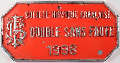 French horse show jumping national prize award plaque double clear round 1998