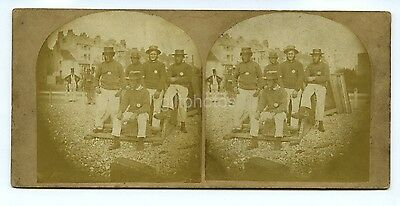 Rare Early Stereoview Of Sailors On A Beach - Named On The Back c1850s