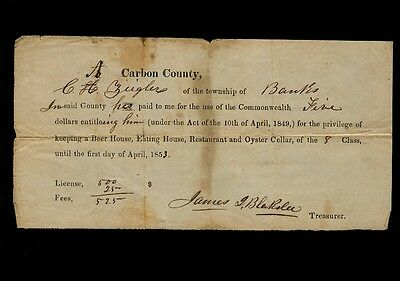 1853 Beer House License for C. A. Ziegler, Banks, Carbon County, Pennsylvania