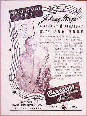 BUESCHER AD 1950 - Johnny Hodges  holding his Buescher True  Tone 400 alto sax