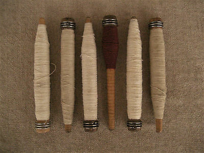 Vintage Wood Textile Sewing Bobbins Spindles Spools With Thread Yarn Lot Of 6
