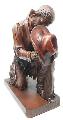 Western Wild West Cowboy Range Rider Taking A Bow Praying Figurine Decor
