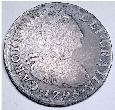 1795 Spanish Silver 2 Reales Pirate Shipwreck Treasure Spain Piece Of 8 Two Real