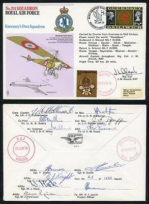 RAF9c 201 Squadron Round the World Flight Signed by Wg Cdr J.M. Alcock
