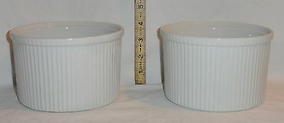 Pair Of Used Matching White Ribbed Porcelain Apilco France Souffle Baking Bowls