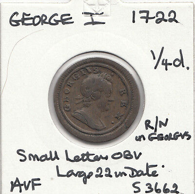 1722 George I Farthing S3662-Unrecorded -See Description