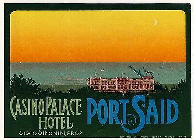 Casino Palace Hotel PORT SAID Egypt * Old RICHTER Luggage Label Kofferaufkleber